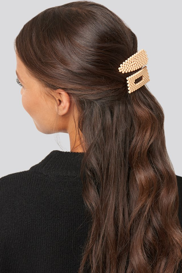 Light Yellow Colored Beads Hairclips