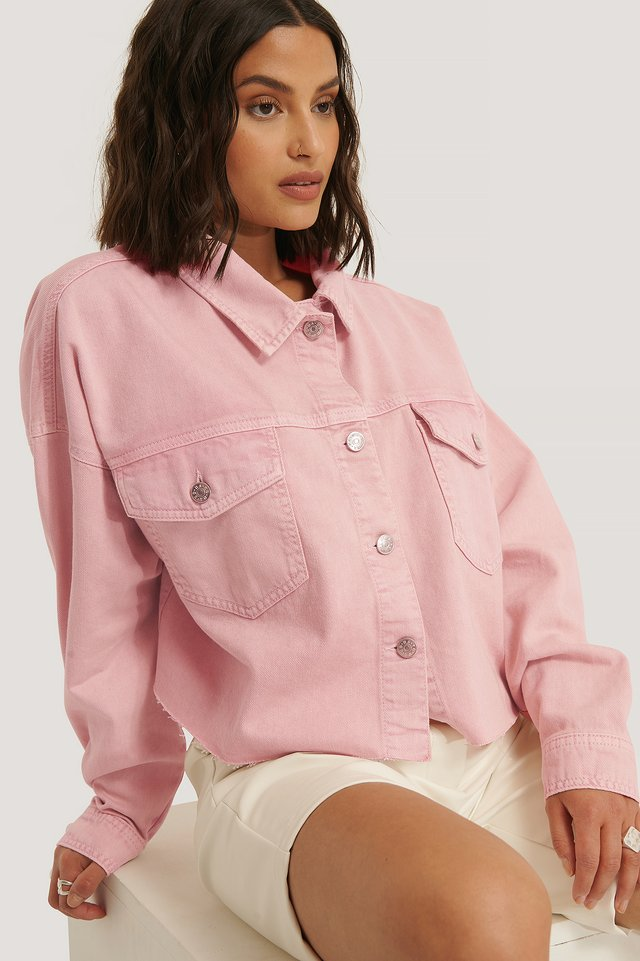 Chemise Denim Ourlet Brut Pink