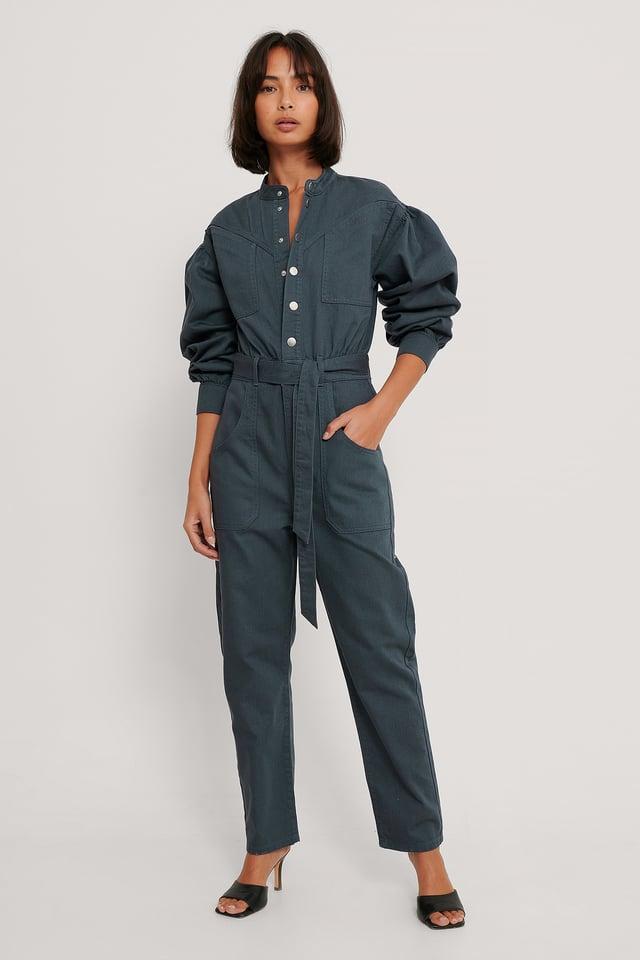 Combinaison Pantalon En Jean Coloré Blue