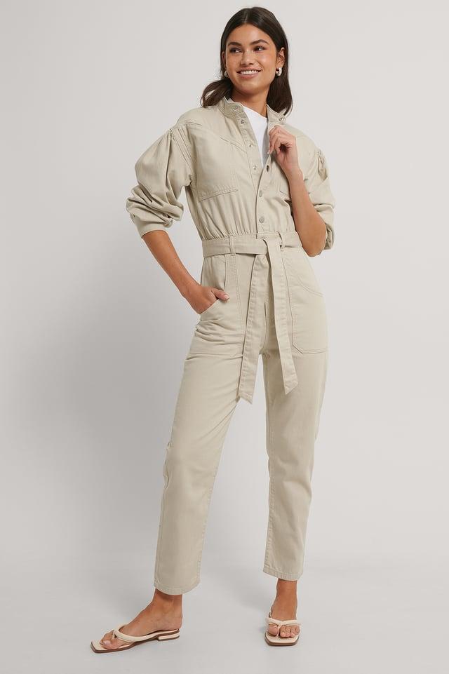 Combinaison Pantalon En Jean Coloré Light Beige