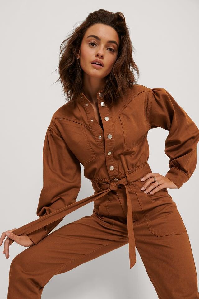 Combinaison Pantalon En Jean Coloré Rust