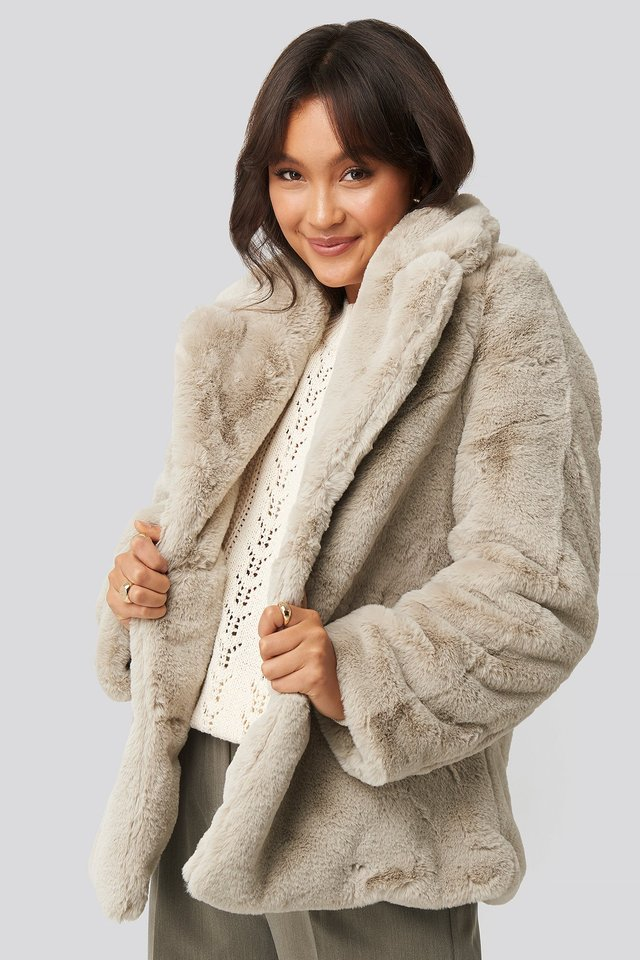 Light Beige Colored Faux Fur Short Coat