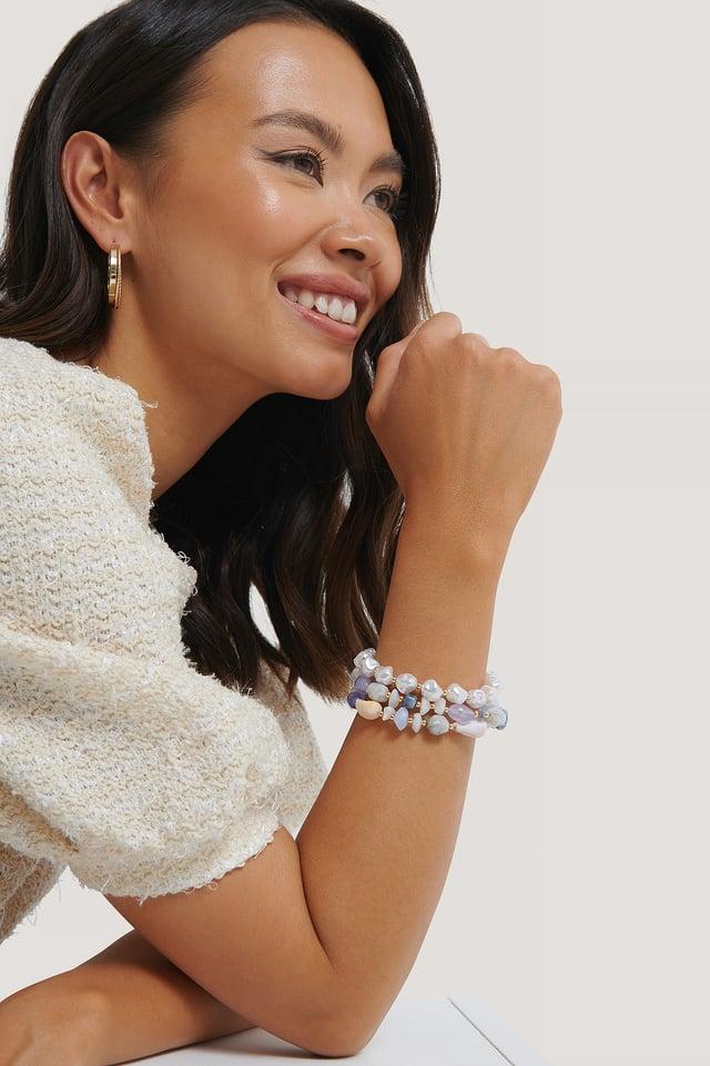 Bracelet De Perles En Couches Colorées Multicolor