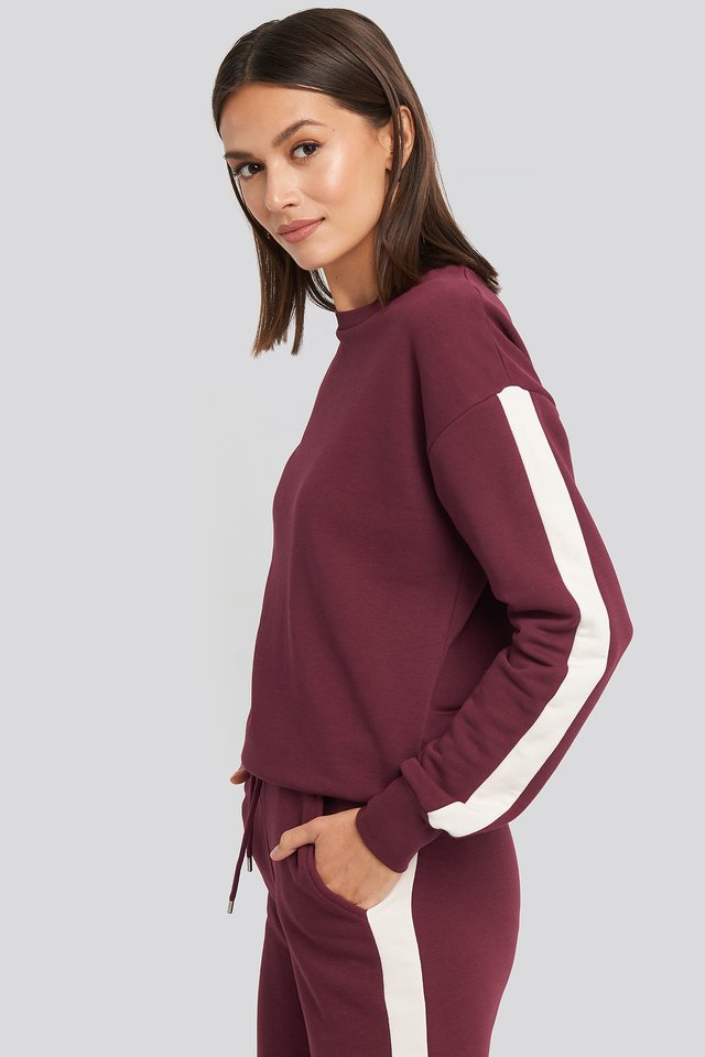 Burgundy Contrast Panel Sweatshirt