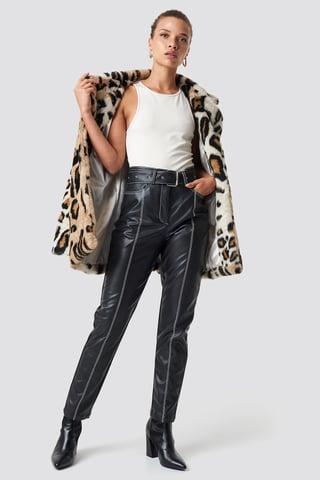 Black Contrast Seam Belted PU Pants