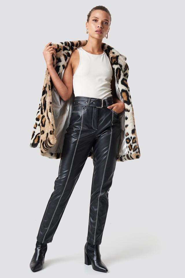 Contrast Seam Belted PU Pants Black