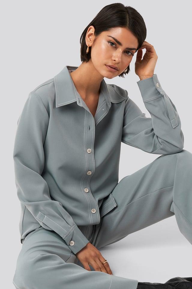 Contrast Seam Overshirt Dusty Blue