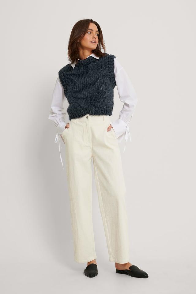 Pantalon En Velours Offwhite