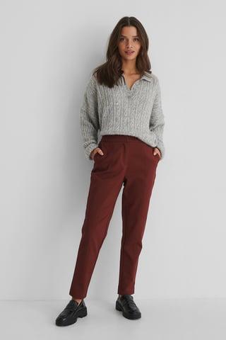 Burgundy Pantalon En Coton Mélangé