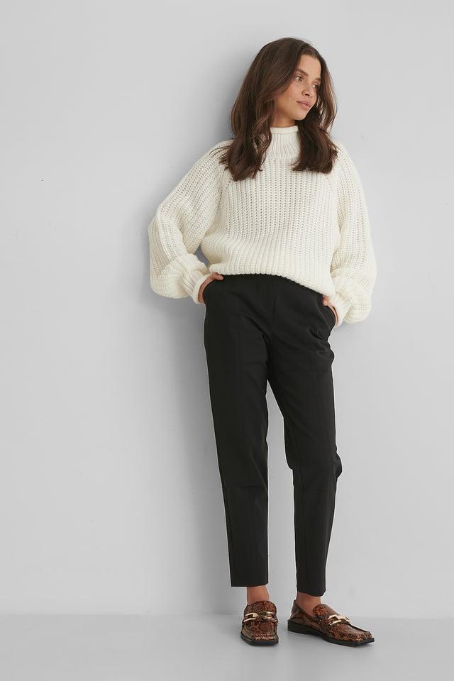Black Pantalon En Coton Mélangé