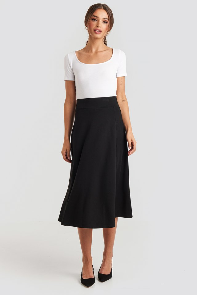 Crepes Line Midi Skirt Black