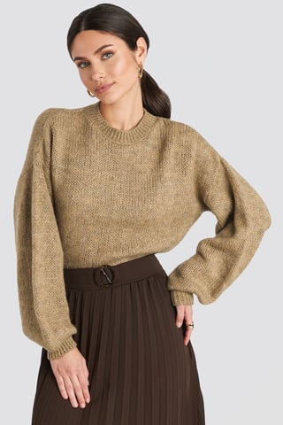 Beige Crew Neck Volume Sleeve Knitted Sweater