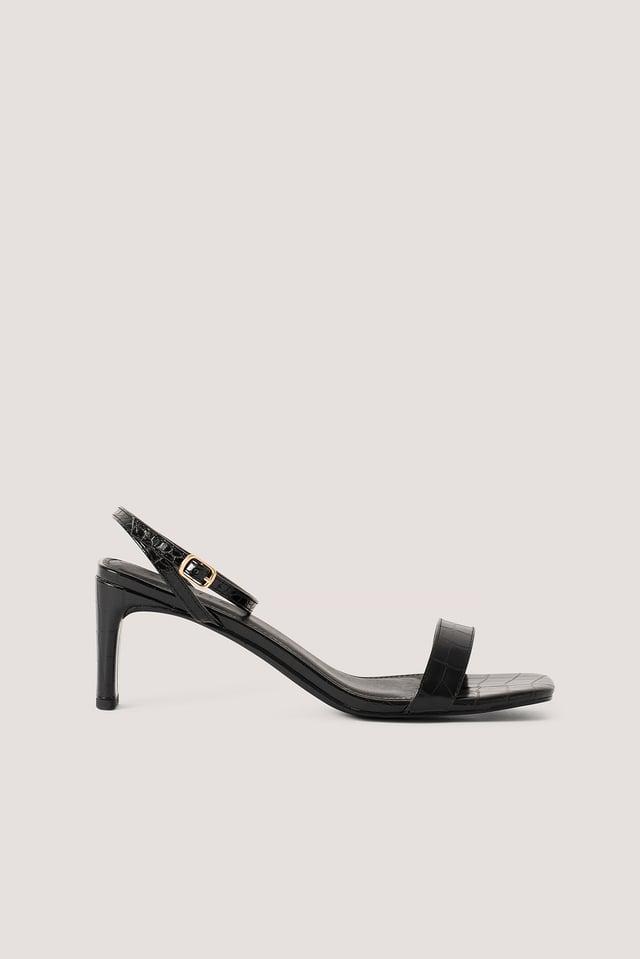 Black Croc Basic Block Heel Sandals