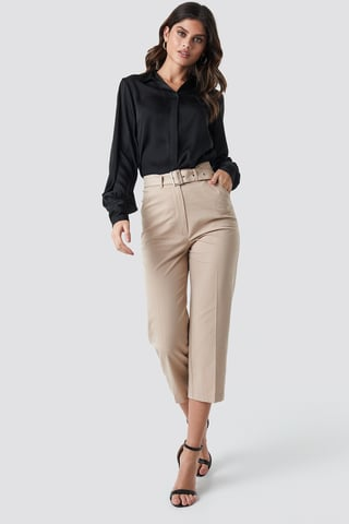 Beige Cropped Belted Pants