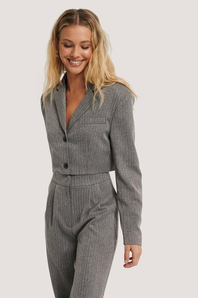 Cropped Blazer Grey