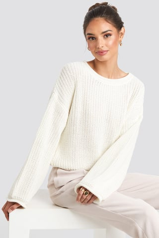 Offwhite Cropped Boat Neck Knitted Sweater