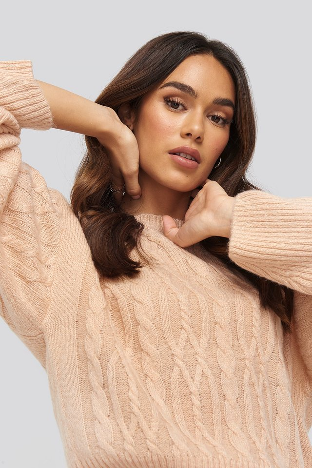 Dusty Light Pink Cropped Cable Knitted Sweater