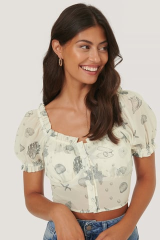 Sea Shell Cropped Flounce Detail Blouse