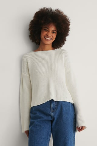 White Cropped Long Sleeve Knitted Sweater