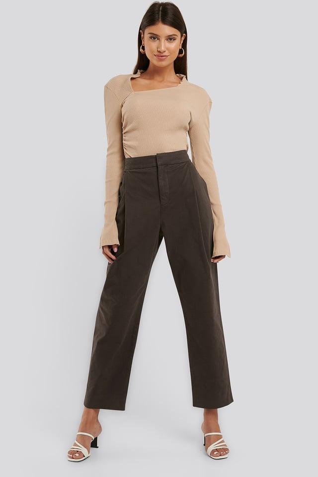 Pantalon Plissé Brown