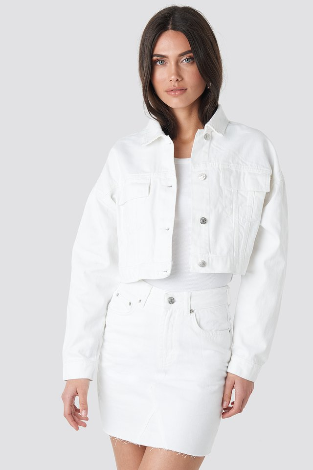 White Cropped Regular Hem Denim jacket