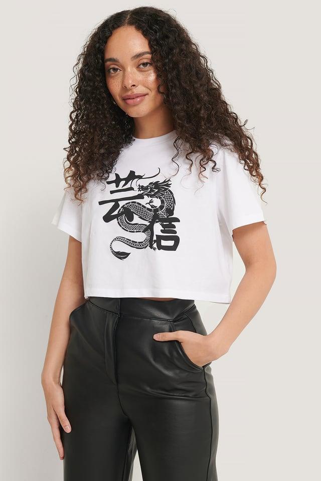 Tee-Shirt Court Imprimé White