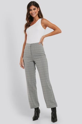 Grey Cropped Straight Suit Check Pants
