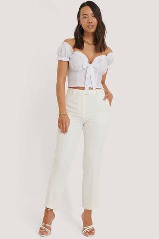 White Pantalon De Costume Court