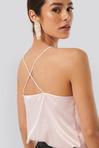 Pink Cross Back Straight Neckline Singlet