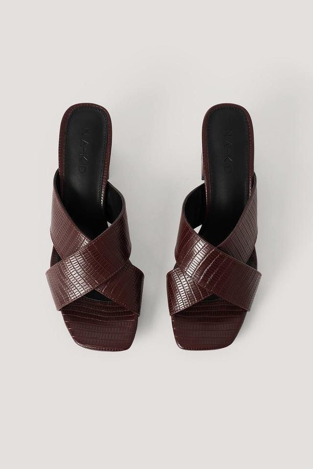 Dark Brown Mules Croisées