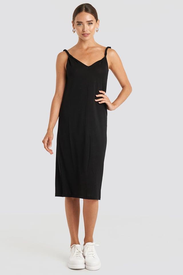 Deep Black Cupro V-Neck Midi Dress