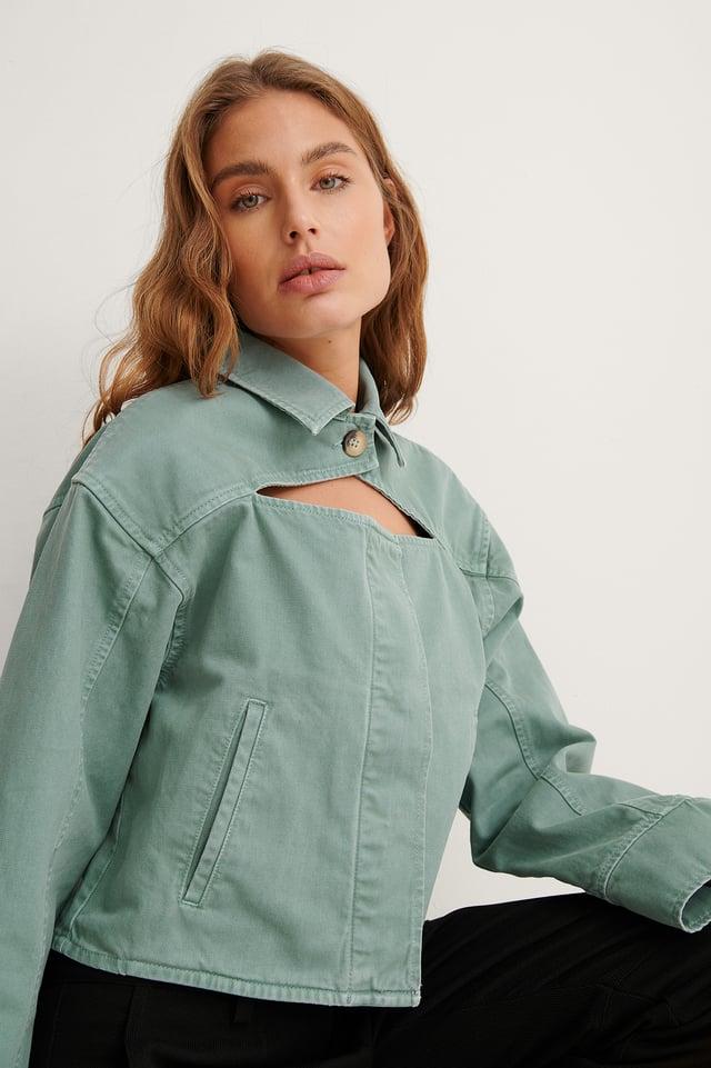 Light Turquoise Biologique Veste En Jean