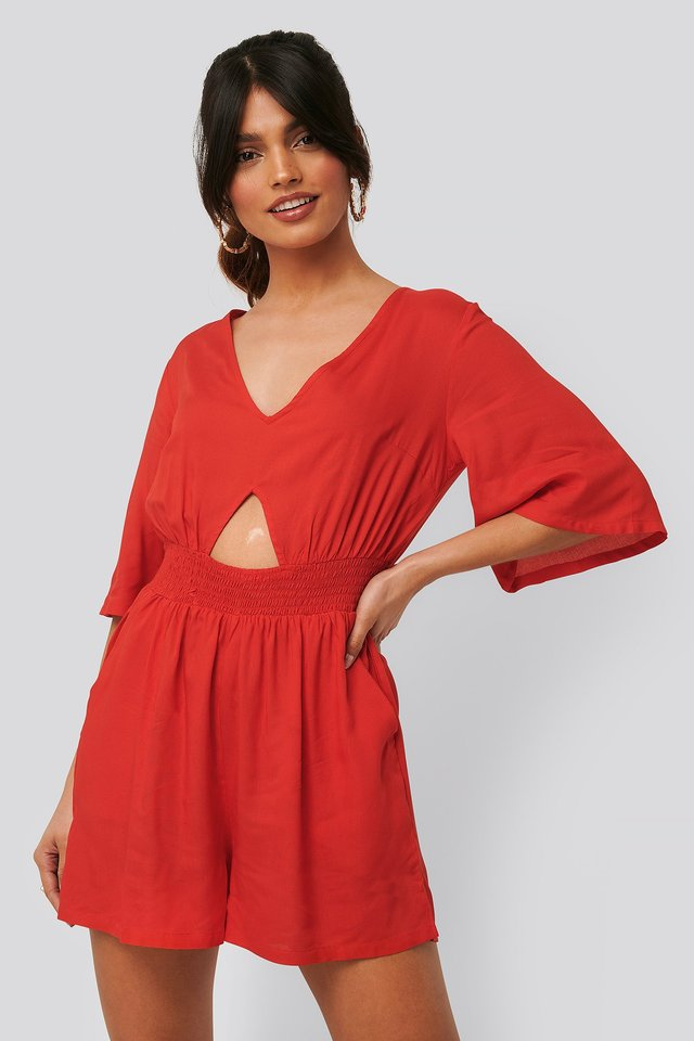 Cut Out Detail Playsuit Red