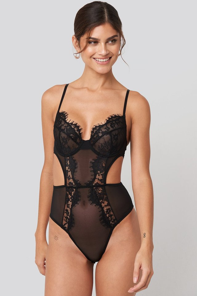 Black Cut out Lace Bodysuit