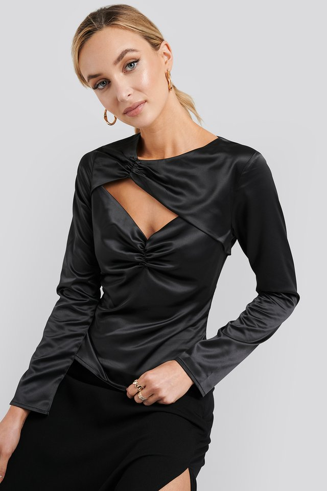 Black Cut Out Satin Long Sleeve Top