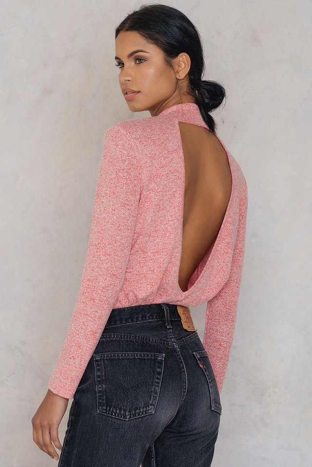 Deep Back Knitted Sweater Red