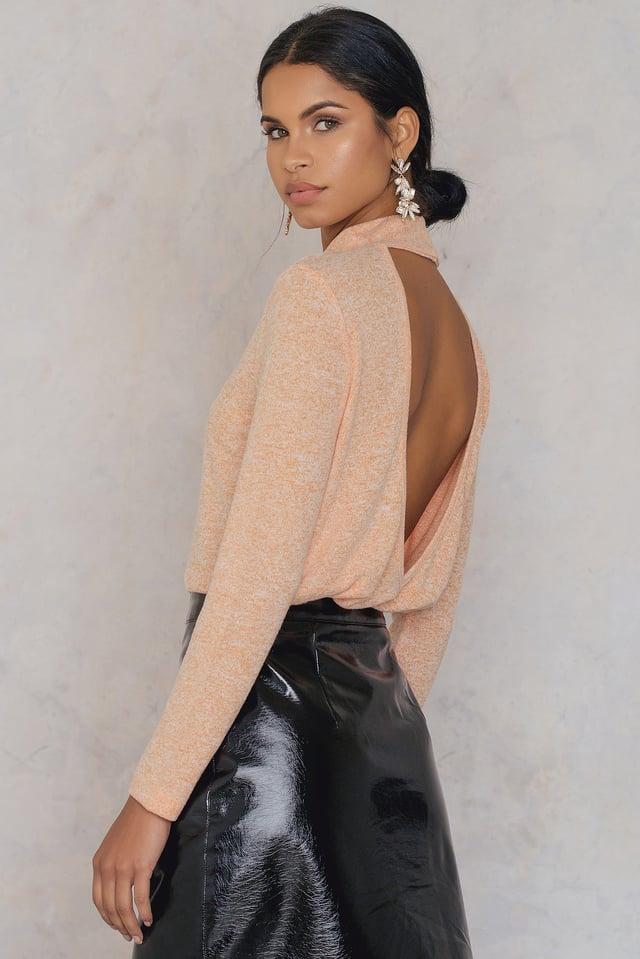Deep Back Knitted Sweater Orange