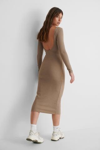 Brown Recyclée Robe Mi-longue Côtelée