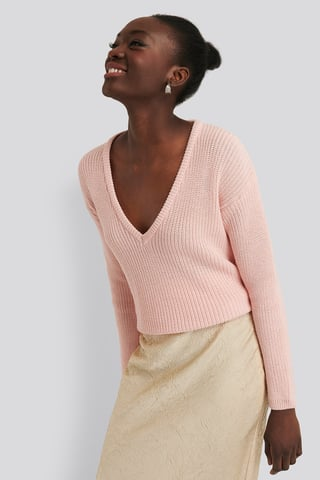 Light Pink Deep Front V-neck Knitted Sweater