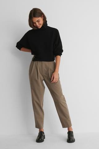 Taupe Pantalon De Costume À Plis Profonds