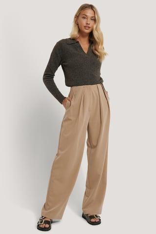 Beige Pantalon De Costume À Plis Profonds