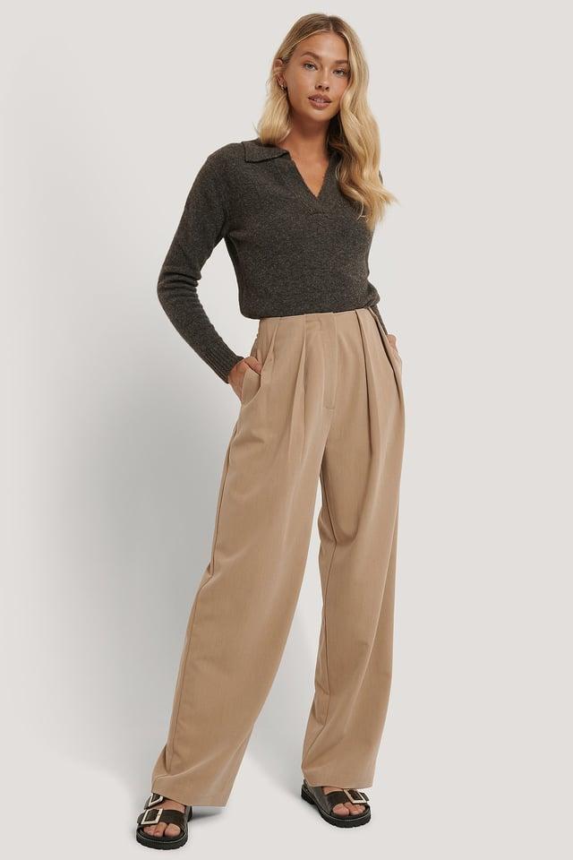 Pantalon De Costume À Plis Profonds Beige