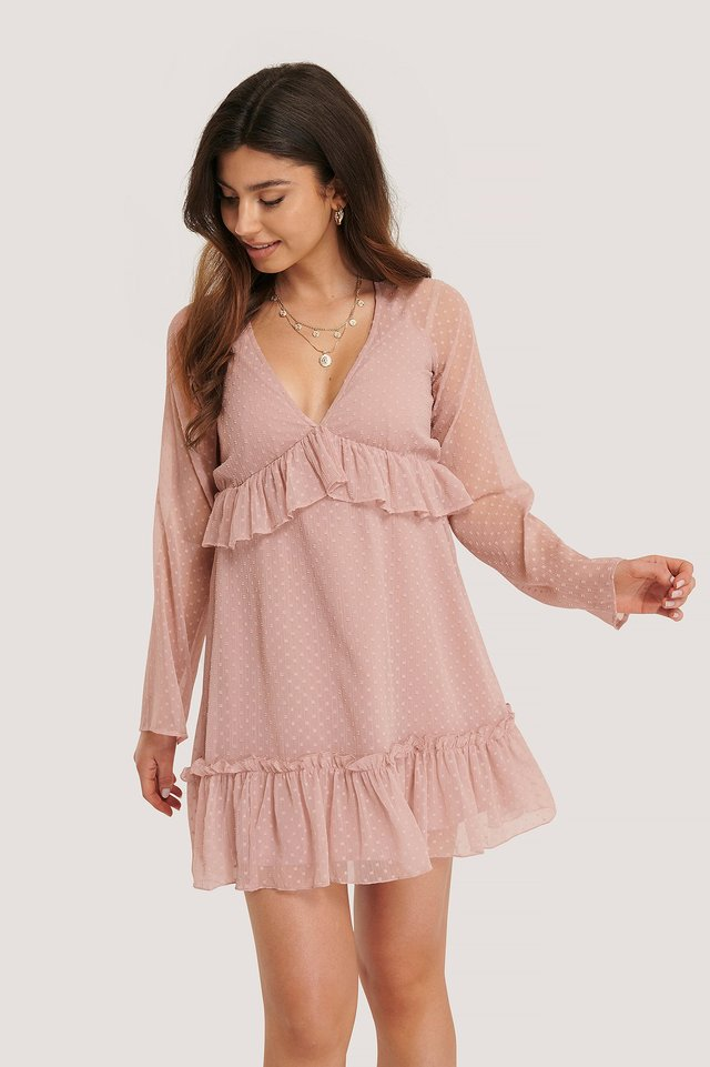Robe Dobby À Col En V Profond Dusty Pink