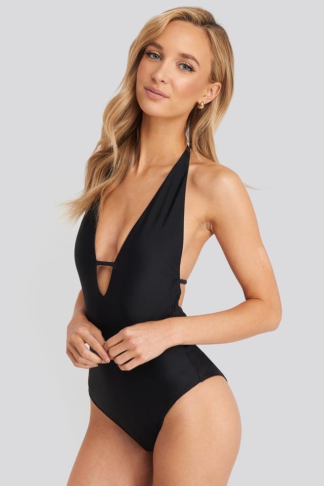 Black Deep V-Cut Swimsuit