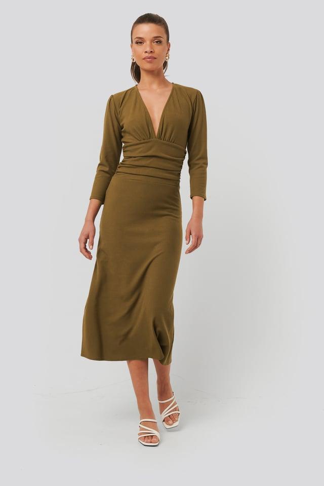 Dark Beige Deep V Waist Detail Dress