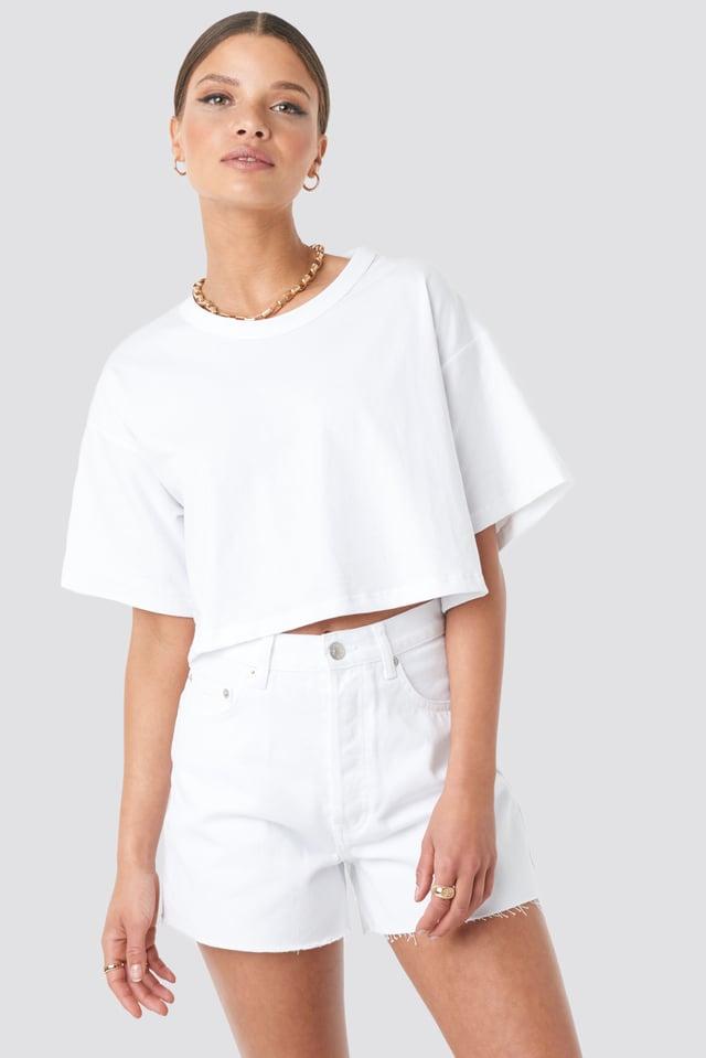 White Denim High Waist Shorts