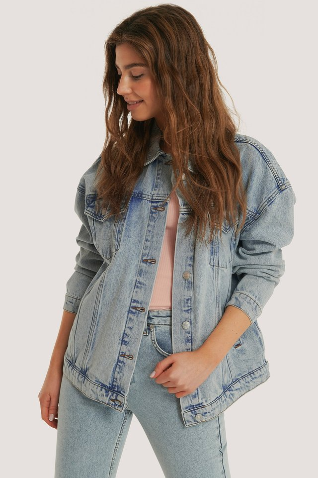 Light Blue Veste En Jean Surdimensionnée