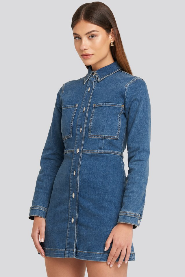 Denim Shirt Mini Dress Blue