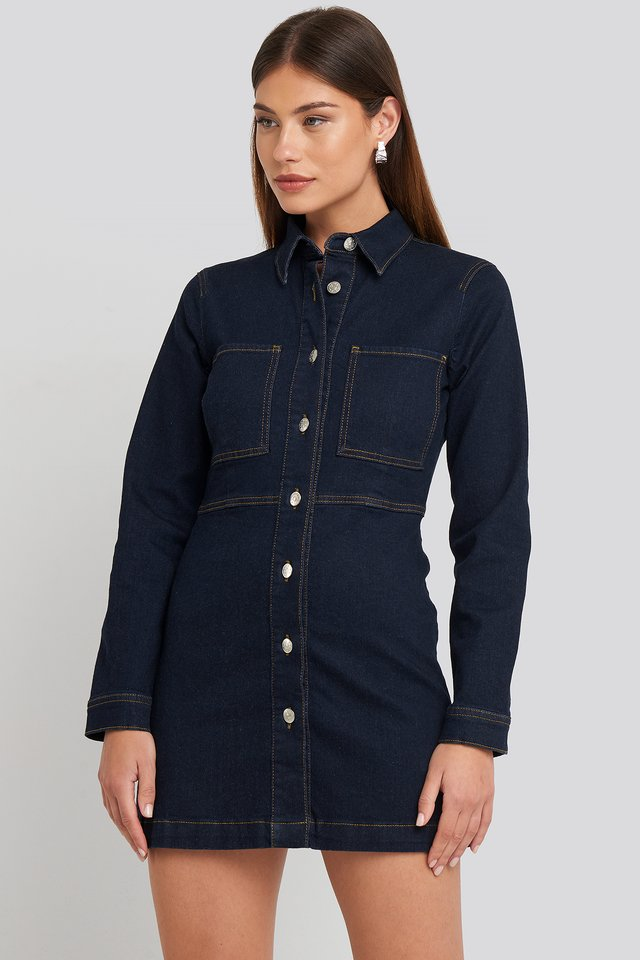Denim Shirt Mini Dress Indigo Blue