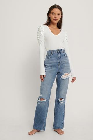 Mid Blue Jean Déchiré Droit Taille Haute